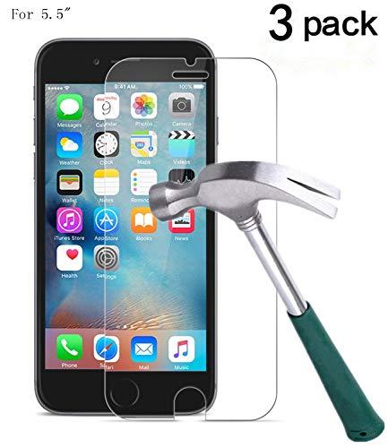 TANTEK iPhone 7 Plus Screen Protector, [Bubble-Free][HD-Clear][Anti-Scratch/Glare][Anti-Fingerprint] Tempered Glass Screen Protector for iPhone 7 Plus& iPhone 6/6s Plus,-[3Pack]