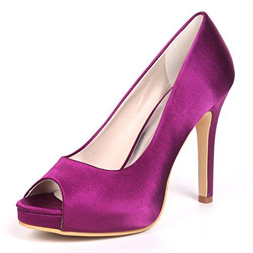 Satinada Purple Las Peep L Mujeres Altos Pie Chunky Boda De yc Tacones Stiletto Punta Zapatos Plataforma Toe 02a Del 6041 qIfISvw