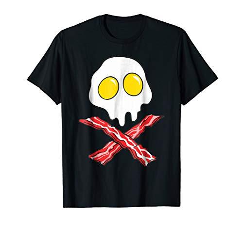 Mens Eggs And Bacon Skull And Cross Bones Black Adult T-Shirt 2XL Black