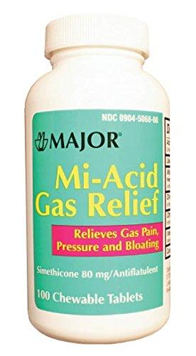 Major Pharmaceuticals 700630 Mylanta Gas Mi-Acid Gas Antacid  Chew Tablet, 80 mg, 100 Tablets