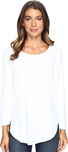 Mod-O-Doc Women's 3/4 Sleeve Cotton Textured Raw Edged Tunic, White, M
