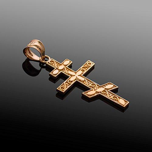 Petits Merveilles D'amour - 10 ct 471/1000 Or Rose Orthodoxe Russe Croix Pendentif