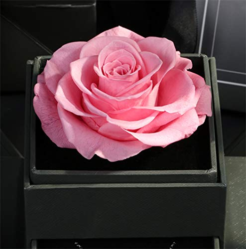 Forever Blossom Handmade Preserved Flower Rose Jewelry Gift Box, Never Withered Roses, Upscale Immortal Flowers, Eternal Life Flowers for Love Ones, Gifts for Women,Mom,Girlfriend (Pink)