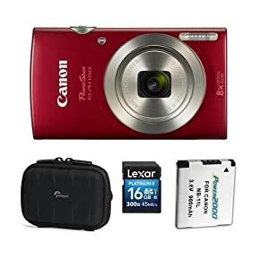 Canon PowerShot ELPH 180 Point Shoot Digital Camera, 20.MP, 8X Optical Zoom Lens, and AccessoryBundle (Red) by Canon