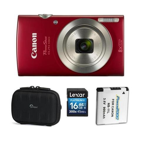 Canon PowerShot ELPH 180 Point Shoot Digital Camera, 20.MP, 8X Optical Zoom Lens, and AccessoryBundle (Red)