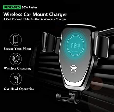 Adjustable Gravity Dashboard Air Vent Mobile Phone Holder 10W 7.5W Qi Fast Charging 5W Mount for iPhone Samsung LG Sony Nokia and Android Smartphones Qi-Enabled Afoxon Car Wireless Charger Mount