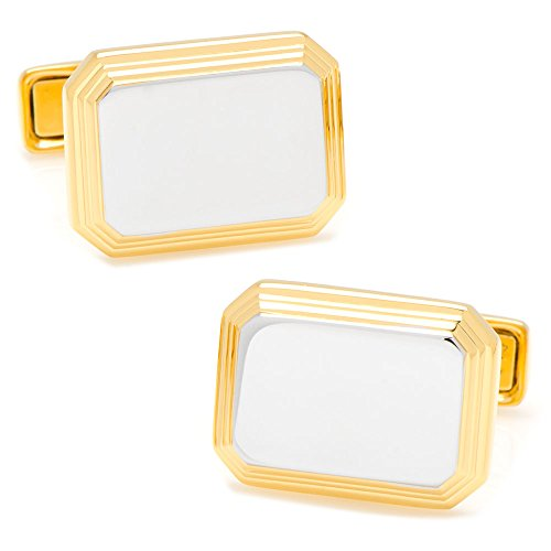 Ox and Bull Trading Co. Sterling Silver Two Tone Rectangular Engravable (Sterling Silver Two Tone Cufflinks)