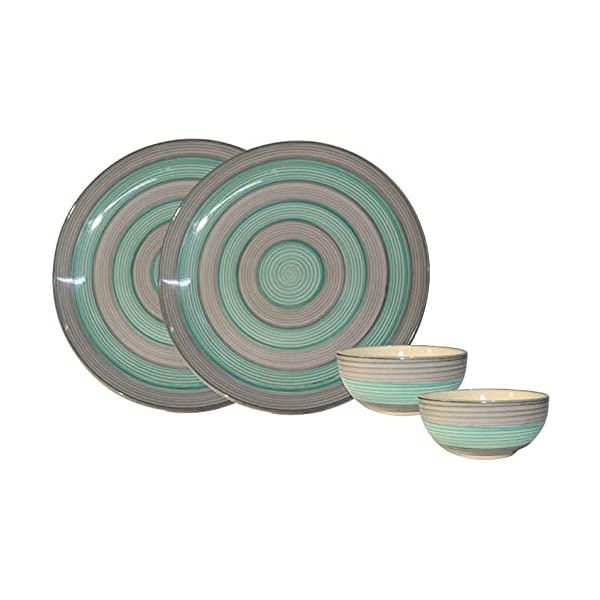 ANK Home Craft Handmade and Handprinted Ceramic Green & Grey Plate(10.3 inch Diameter) with Free Dinner Dining Bowl Set…