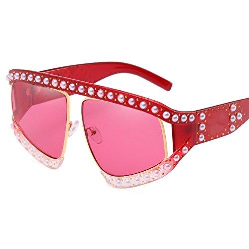 YANJING de de Decoración Gafas la ZYXCC Sol Sol Mujer Color Verde de Protección de Sol la Personalidad de UV Remaches Sol de Gafas Perlas Gafas Rojo de de Gafas de r7qtr