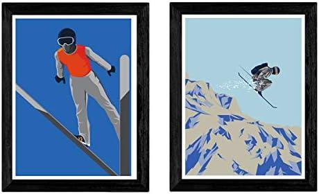 Pack de Dos láminas Esqui. Tamaño A4: Amazon.es: Hogar