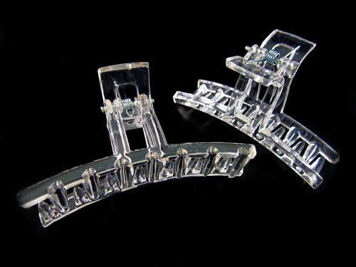 (12) Clear Hair Jaw Claw Clip Ponytail Holder - 2.5