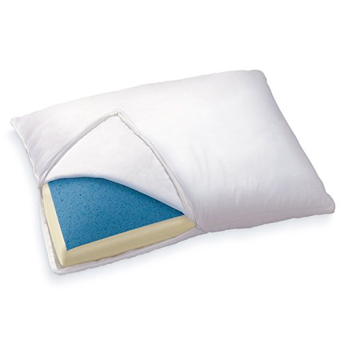 Sleep Innovations Reversible Gel Memory Foam & Memory Foam Pillow with Microfiber Cover, Made in the USA with a 5-Year Warranty - Queen Size