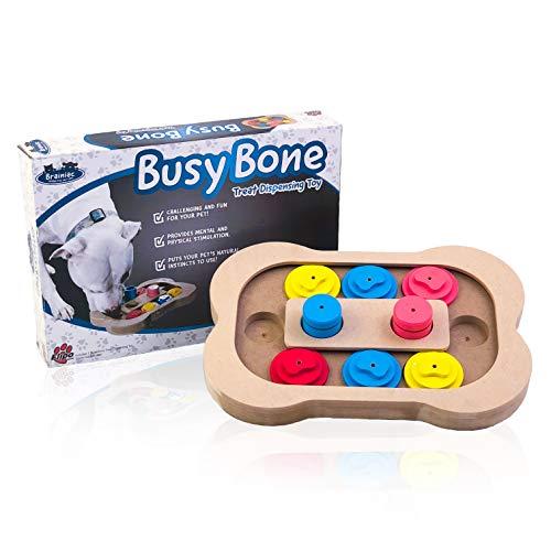 Brainiac Busy Bone - Fun Food Dispensing Interactive Pet Dog Toy - Good for Behavioral Training and Mental Health
