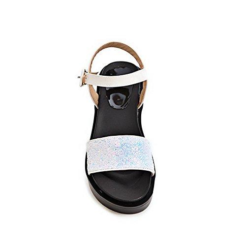 BalaMasa Peep Ladies Sandals Platform White Buckles Metal Toe Urethane BzrB1q