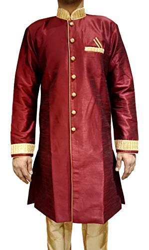 Tathastu Mens Sherwani Kurta Pyjama Set - Maroon - 3043A - 36