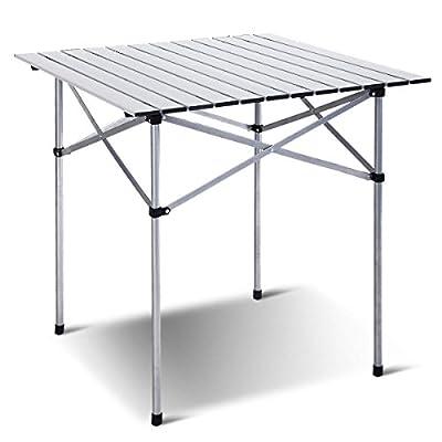 Giantex Roll Up Portable Folding Camping Square Aluminum Picnic Table w/Bag (27-3/5
