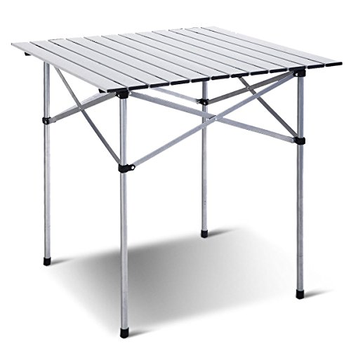 Giantex Roll Up Portable Folding Camping Square Aluminum Picnic Table w Bag 27-3 5