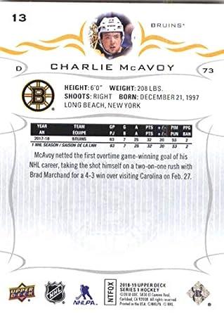 Amazon com: Hockey NHL 2018-19 Upper Deck #13 Charlie McAvoy