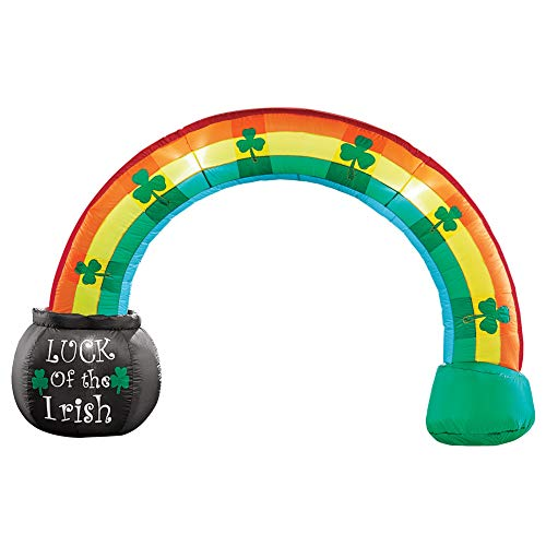 Collections Etc Inflatable St. Patrick's Rainbow Arch with Pot of Gold Yard Decoration and Holiday Outdoor Decor -