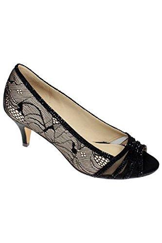 Saphir Boutique flr438 Glaube niedriger Absatz Spitzenbesatz Strass Peeptoe Clutch Tasche ohne Bügel Ferse hautfarben (nur der Schuh)