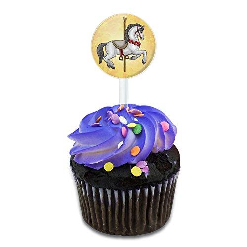 Grand Carousel Horse Cake Cupcake Toppers Picks Set
