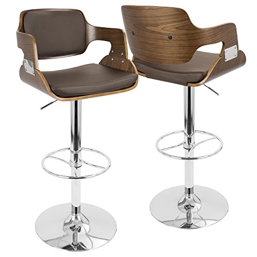 - LumiSource Fiore Barstool, Walnut and Brown