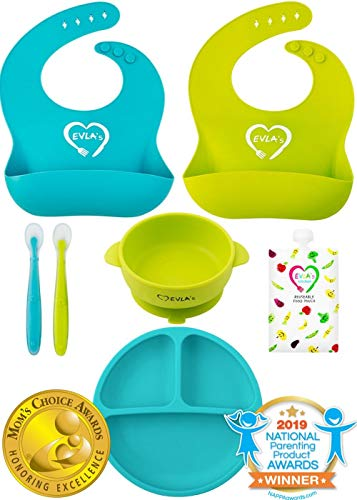 Baby Feeding Set | Silicone Bib Plates Bowls Spoons | Divided Plate Suction Bowl & Soft Spoon Aids Self Feeding…