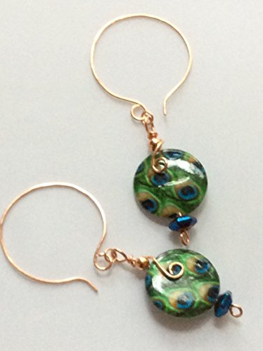 Sapphire Blue and Emerald Green Peacock Feather Patterned Open Hoop Earrings in Copper Emerald Hematite Ring