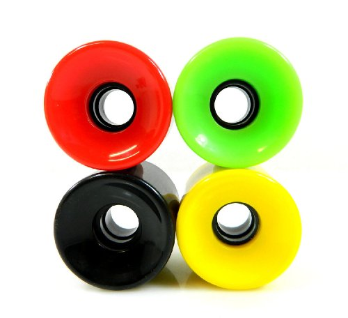 Used, 60mm Gel Solid Color Longboard Skateboard Wheels (Rasta) for sale  Delivered anywhere in USA