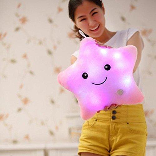 Bei Wang pilas de cinco puntas LED parpadeante luz almohada Forma de Estrella Muñecas decorativas lindas (Rosa)