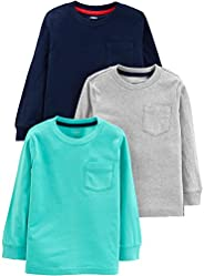 Simple Joys by Carter's boys 3- Pack Solid Pocket Long-Sleeve Tee Shirts T-Shirt
