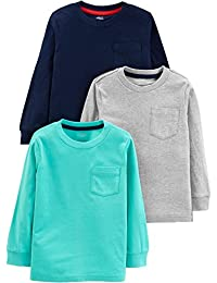 Boys' Toddler 3-Pack Solid Pocket Long-Sleeve Tee Shirts