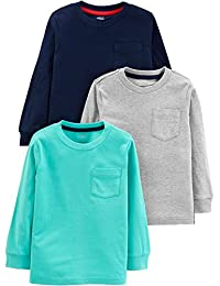 Simple Joys by Carter's boys 3- Pack Solid Pocket Long-Sleeve Tee Shirts T-Shirt Set