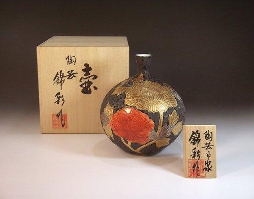有田焼伊万里焼の高級陶器花瓶飾り壺 贈答品 ギフト 記念品 贈り物 牡丹絵藤井錦彩 B00I9RJ7AU