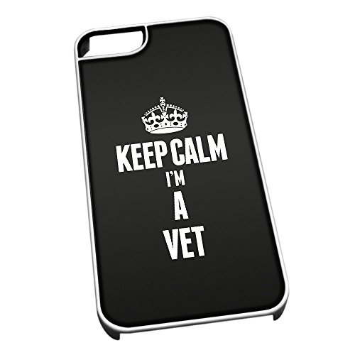 Bianco cover per iPhone 5/5S 2707 nero Keep Calm I m A Vet