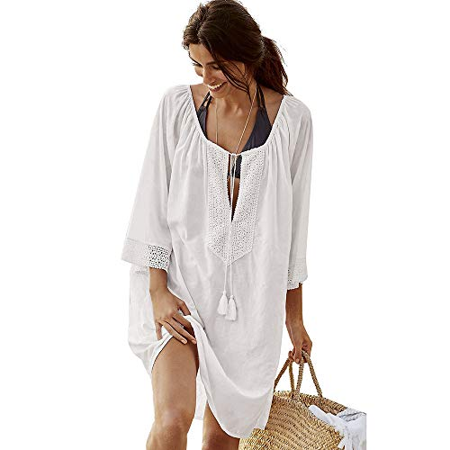 QBSM Women's White Swimsuit Swimwear Cover Ups Beach Bikini Dress Swim Wear Bathing Suit -