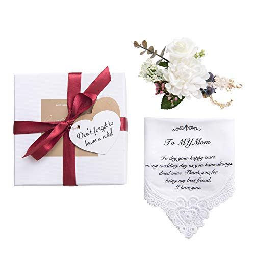 (Ling's moment Hankie Wedding Handkerchief and Wrist Corsages Set for Mom Gift, Mother of The Bride Gift Handkerchief,100% Cotton )