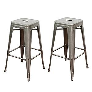 Elegan 30 inch tolix high backless metal indoor counter barstool chair set of 2 - Tolix counter stools ...