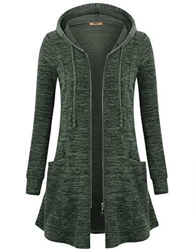 Miusey Womens Zipper Hoodie Jacket Long Sweatshirt Front Open Cardigan (Green, M)