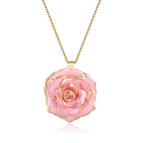 FM FM42 Pink Gold-Tone 30mm Made of Real Rose Flower Pendant Necklace FN4212