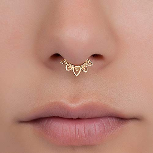 Lotus Septum Ring, Gold Plated Tribal Indian Nose Hoop Piercing Earring, also fits Tragus, Cartilage, Helix, Rook, 18g, Handmade Jewelry (Flower Septum Ring)