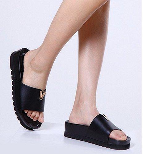 Zapatos de suela gruesa plataforma de verano/zapatilla de una palabra/Usar zapatillas de mujer Negro