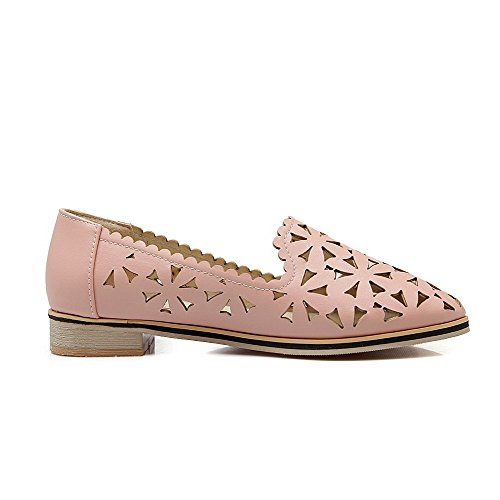 VogueZone009 Women's Pull-On Low-Heels Floral Round-Toe Pumps-Shoes Pink KyRdehA