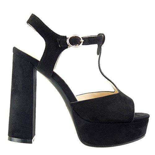 Angkorly - damen Schuhe Pumpe - T-Spange - Plateauschuhe - String Tanga Blockabsatz high heel 13 CM - Schwarz