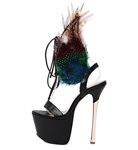 HETAO Persönlichkeit Womens Straps Wasser Plattform Sandalen Strappy Crossover Party Hochzeit High Heel Prom Schuhe Größe Geschenk Des Mädchens Black