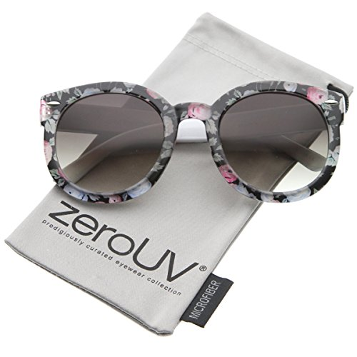 zeroUV - Women's Fashion Floral Printed Gradient Lens Oversized Round Sunglasses 53mm (Black-Blue-Pink / - Printed Sunglasses
