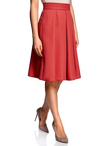 Plis Longue Femme oodji Inverss Jupe Mi Collection 4500n Rouge Tw6IqIX