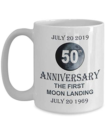 50th Anniversary of First Moon Landing July 20 2019 Mug Apollo 11 Commemoration Gift 1969 Lunar Land USA Accomplishment Ceramic Coffee Cup