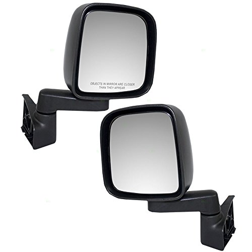 Manual Side View Mirrors Textured Driver and Passenger Replacements for 03-06 Jeep Wrangler 55395061AD 55395060AD ()