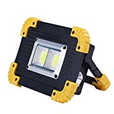 MODOAO Led Portable Spotlight Work Light USB Rechargeable Flashlight 20W LED Flood Light for Outdoor Camping Hiking Emergency Car Repairing and Job Site Lighting (B)